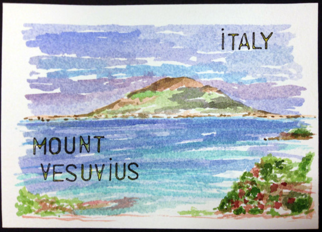 m j bronstein-italy-vesuvius-watercolor